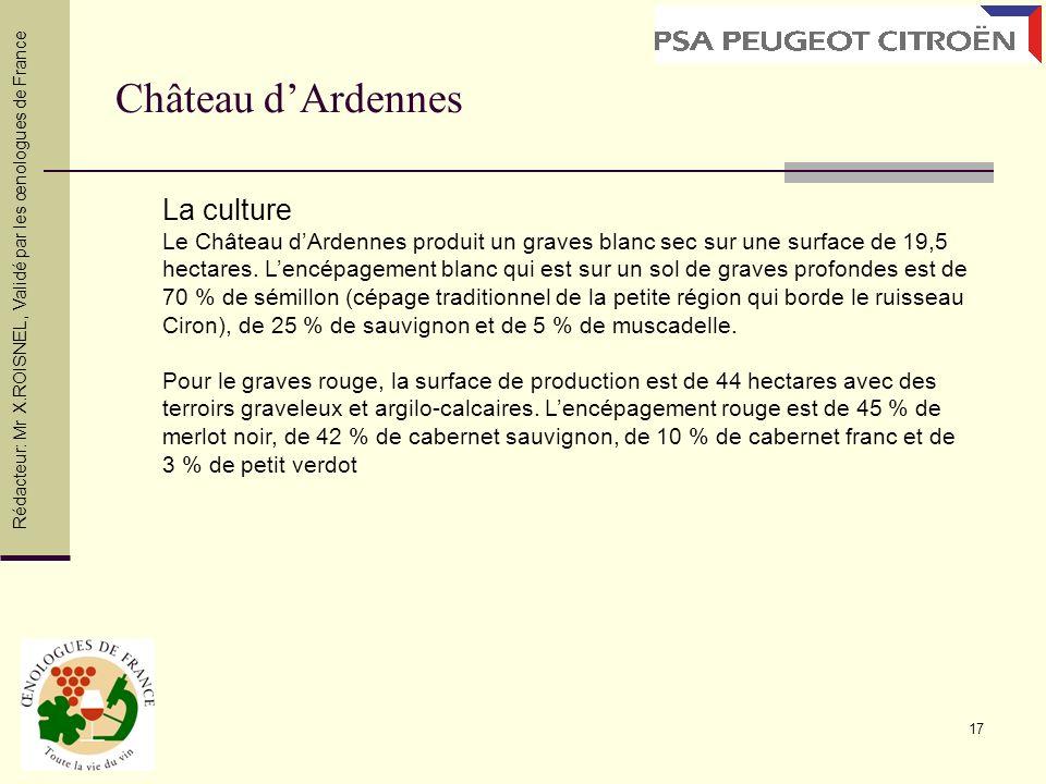 17 Château dArdennes Rédacteur: Mr X.ROISNEL, Validé par les œnologues de France La culture Le Château dArdennes produit un graves blanc sec sur une s