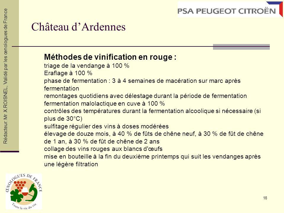 18 Château dArdennes Rédacteur: Mr X.ROISNEL, Validé par les œnologues de France Méthodes de vinification en rouge : triage de la vendange à 100 % Era