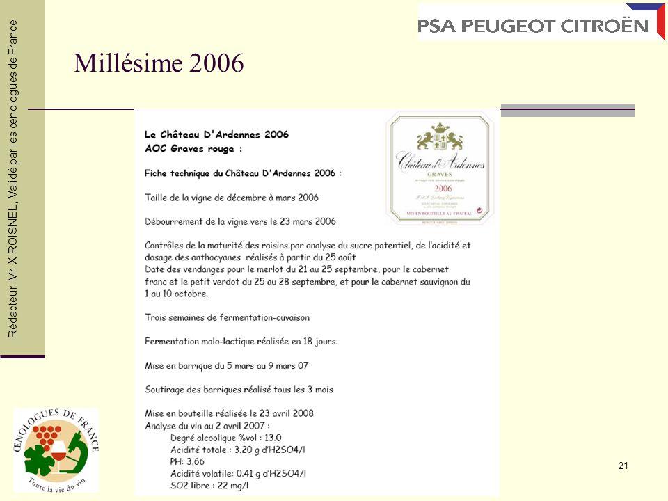 21 Millésime 2006 Rédacteur: Mr X.ROISNEL, Validé par les œnologues de France
