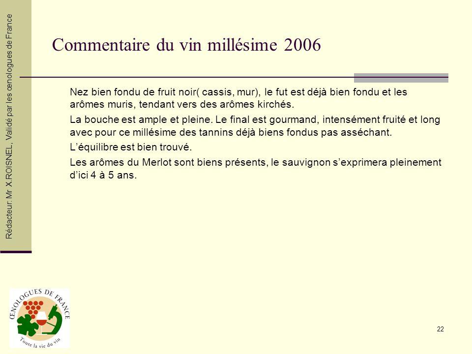 22 Commentaire du vin millésime 2006 Nez bien fondu de fruit noir( cassis, mur), le fut est déjà bien fondu et les arômes muris, tendant vers des arôm