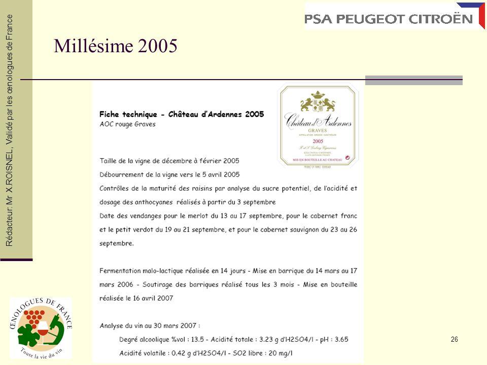 26 Millésime 2005 Rédacteur: Mr X.ROISNEL, Validé par les œnologues de France