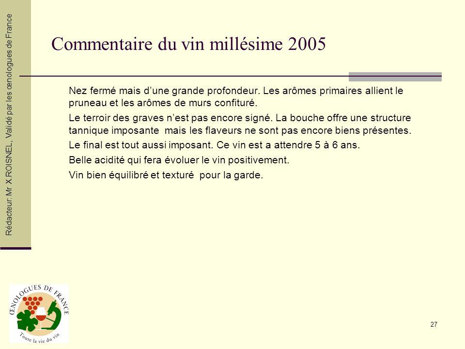 27 Commentaire du vin millésime 2005 Nez fermé mais dune grande profondeur. Les arômes primaires allient le pruneau et les arômes de murs confituré. L