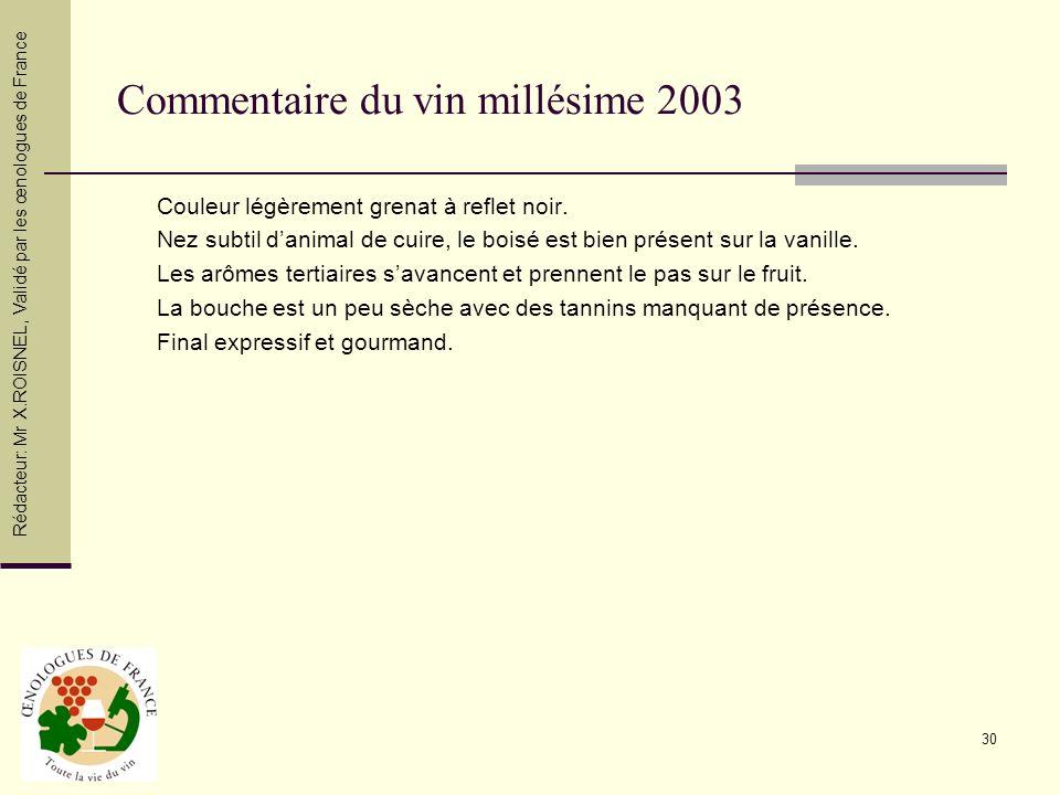 30 Commentaire du vin millésime 2003 Couleur légèrement grenat à reflet noir. Nez subtil danimal de cuire, le boisé est bien présent sur la vanille. L