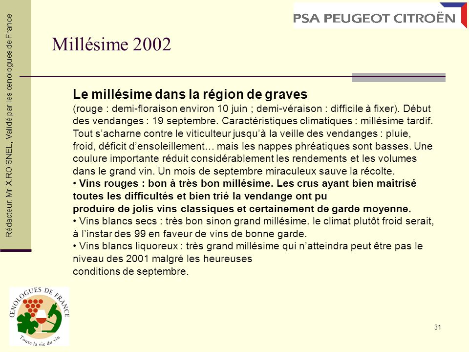 31 Millésime 2002 Rédacteur: Mr X.ROISNEL, Validé par les œnologues de France Le millésime dans la région de graves (rouge : demi-floraison environ 10