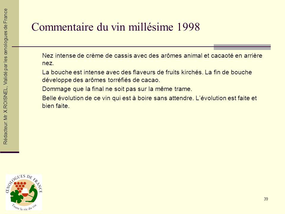 39 Commentaire du vin millésime 1998 Nez intense de crème de cassis avec des arômes animal et cacaoté en arrière nez. La bouche est intense avec des f