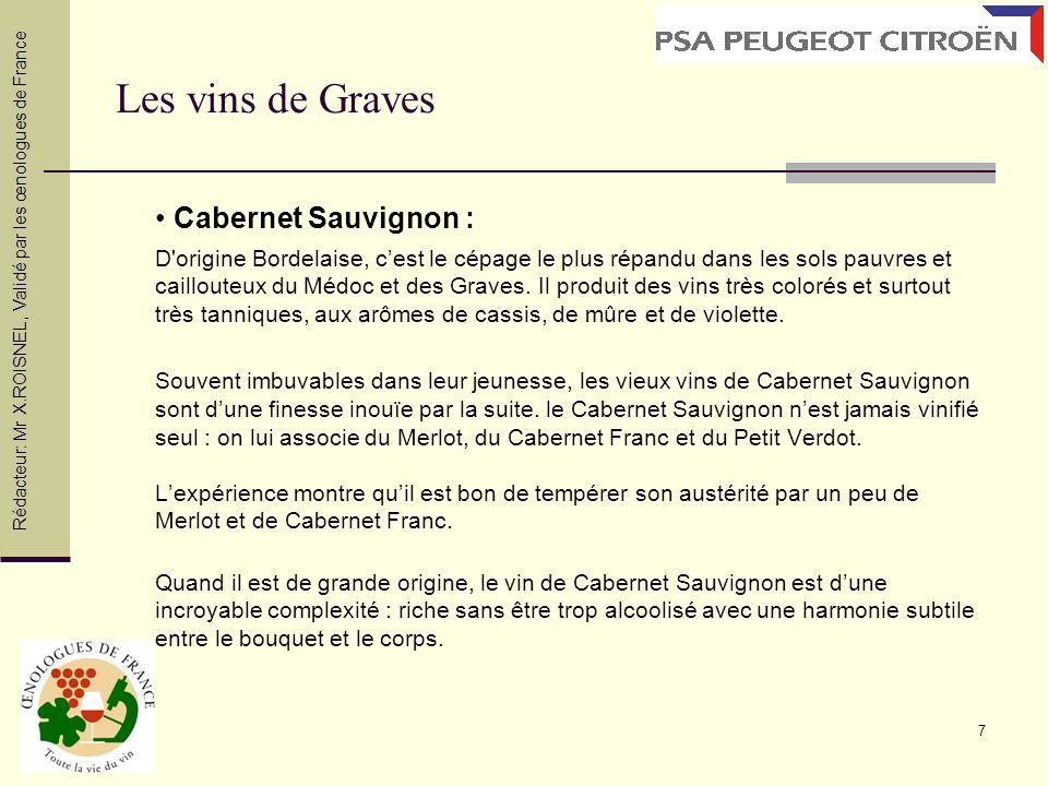 7 Cabernet Sauvignon : D'origine Bordelaise, cest le cépage le plus répandu dans les sols pauvres et caillouteux du Médoc et des Graves. Il produit de