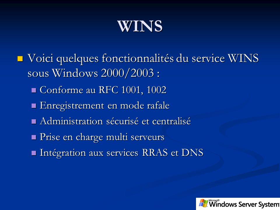 WINS Voici quelques fonctionnalités du service WINS sous Windows 2000/2003 : Voici quelques fonctionnalités du service WINS sous Windows 2000/2003 : C