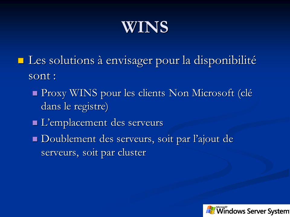 WINS Les solutions à envisager pour la disponibilité sont : Les solutions à envisager pour la disponibilité sont : Proxy WINS pour les clients Non Mic