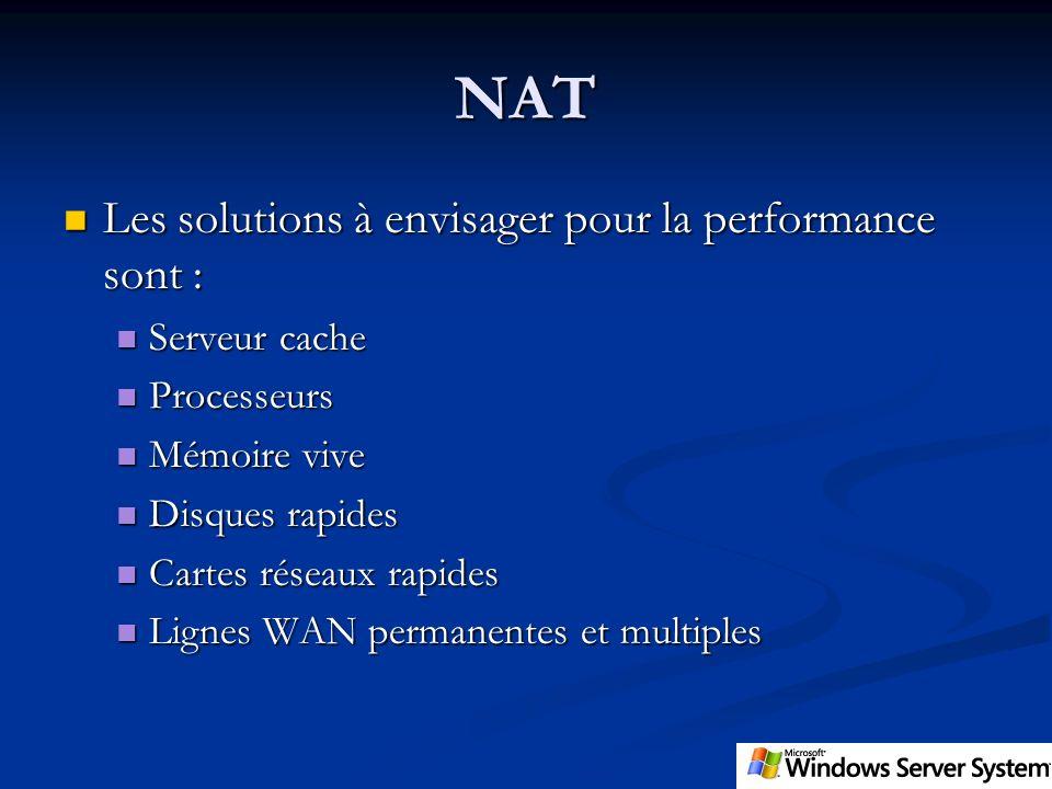 NAT Les solutions à envisager pour la performance sont : Les solutions à envisager pour la performance sont : Serveur cache Serveur cache Processeurs