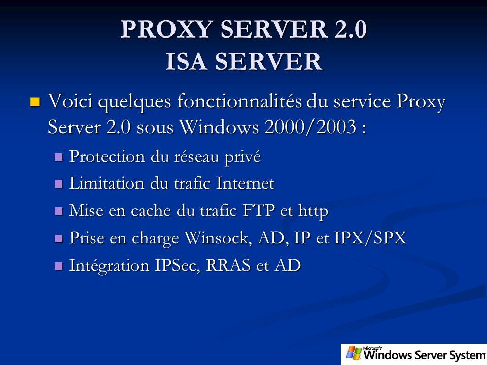 PROXY SERVER 2.0 ISA SERVER Voici quelques fonctionnalités du service Proxy Server 2.0 sous Windows 2000/2003 : Voici quelques fonctionnalités du serv