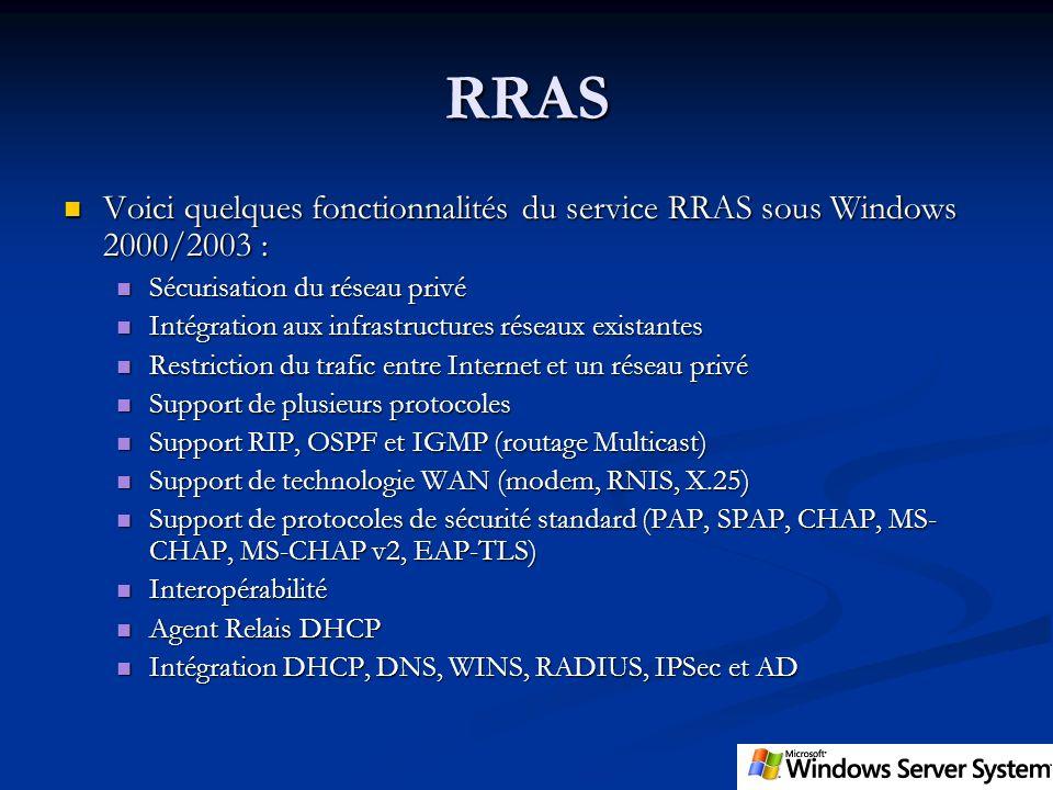 RRAS Voici quelques fonctionnalités du service RRAS sous Windows 2000/2003 : Voici quelques fonctionnalités du service RRAS sous Windows 2000/2003 : S
