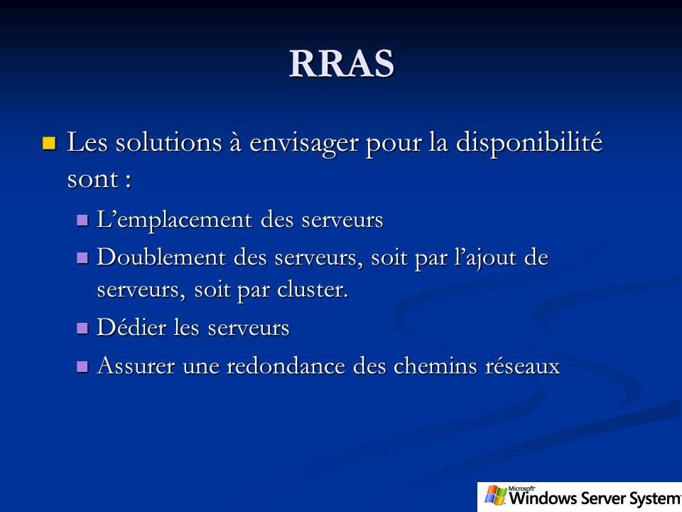 RRAS Les solutions à envisager pour la disponibilité sont : Les solutions à envisager pour la disponibilité sont : Lemplacement des serveurs Lemplacem