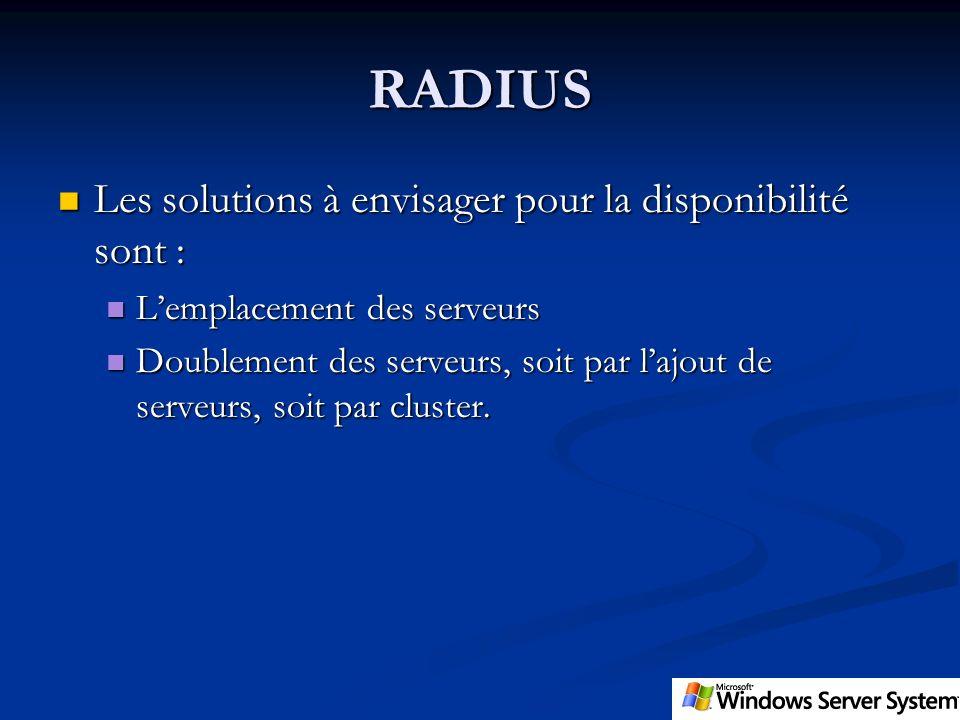 RADIUS Les solutions à envisager pour la disponibilité sont : Les solutions à envisager pour la disponibilité sont : Lemplacement des serveurs Lemplac