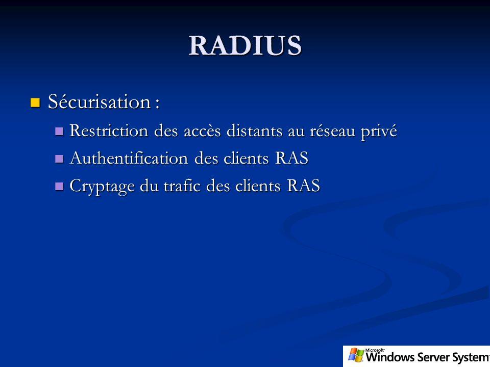 RADIUS Sécurisation : Sécurisation : Restriction des accès distants au réseau privé Restriction des accès distants au réseau privé Authentification de