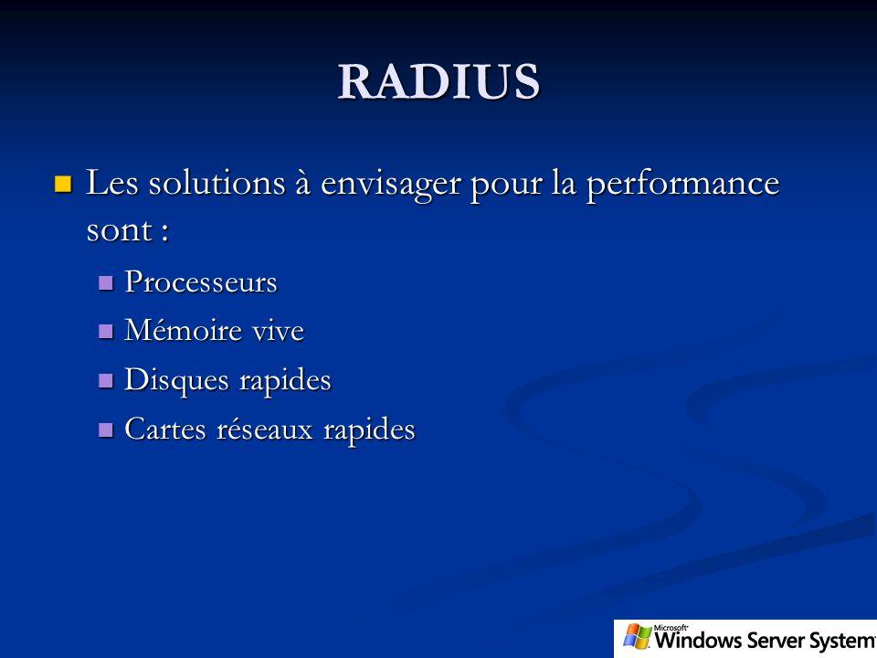 RADIUS Les solutions à envisager pour la performance sont : Les solutions à envisager pour la performance sont : Processeurs Processeurs Mémoire vive