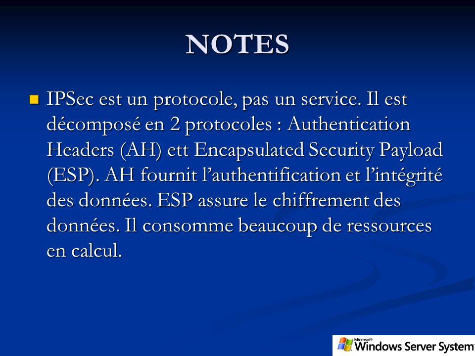 NOTES IPSec est un protocole, pas un service. Il est décomposé en 2 protocoles : Authentication Headers (AH) ett Encapsulated Security Payload (ESP).