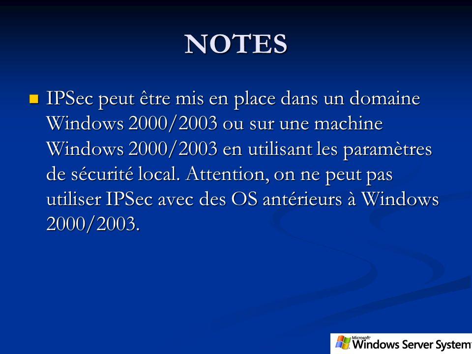NOTES IPSec peut être mis en place dans un domaine Windows 2000/2003 ou sur une machine Windows 2000/2003 en utilisant les paramètres de sécurité loca