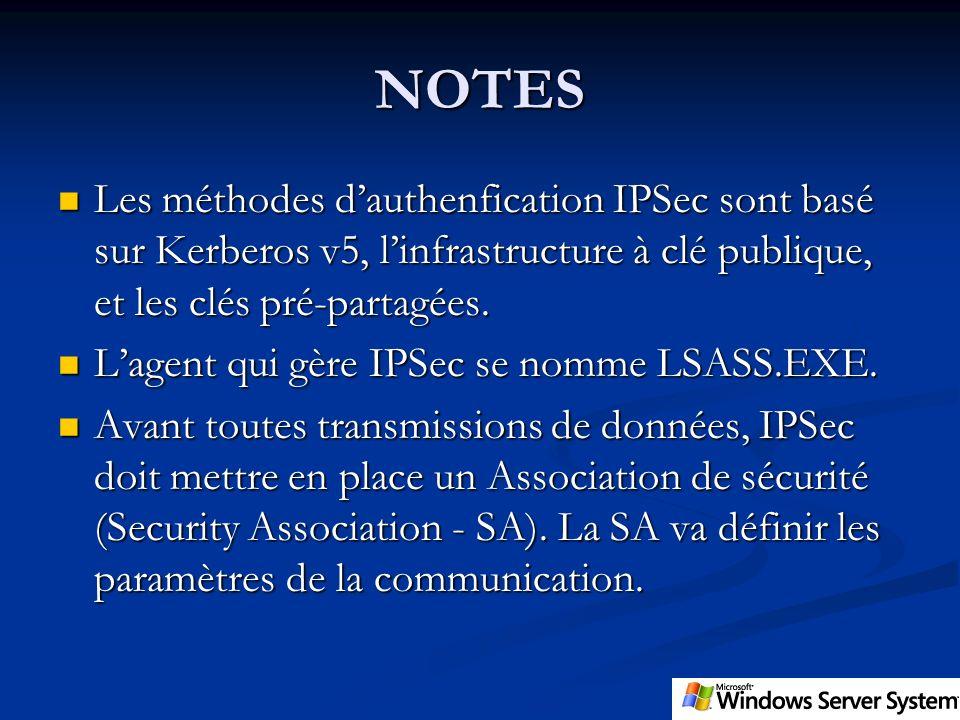 NOTES Les méthodes dauthenfication IPSec sont basé sur Kerberos v5, linfrastructure à clé publique, et les clés pré-partagées. Les méthodes dauthenfic