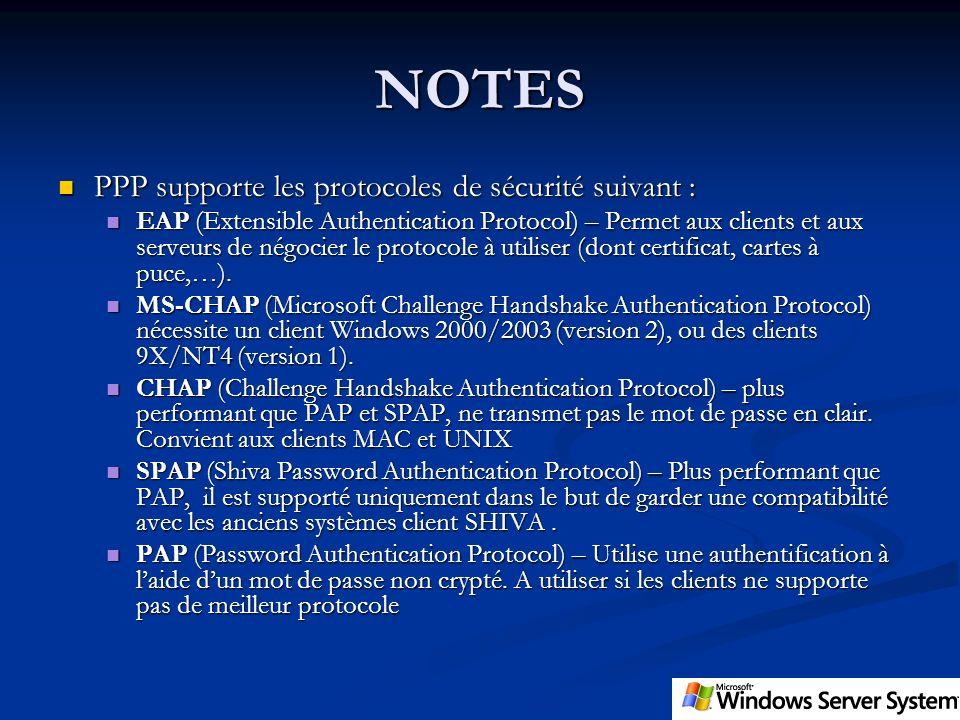 NOTES PPP supporte les protocoles de sécurité suivant : PPP supporte les protocoles de sécurité suivant : EAP (Extensible Authentication Protocol) – P