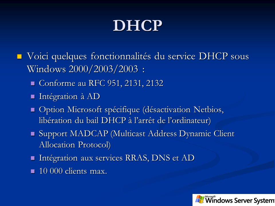 DHCP Voici quelques fonctionnalités du service DHCP sous Windows 2000/2003/2003 : Voici quelques fonctionnalités du service DHCP sous Windows 2000/200