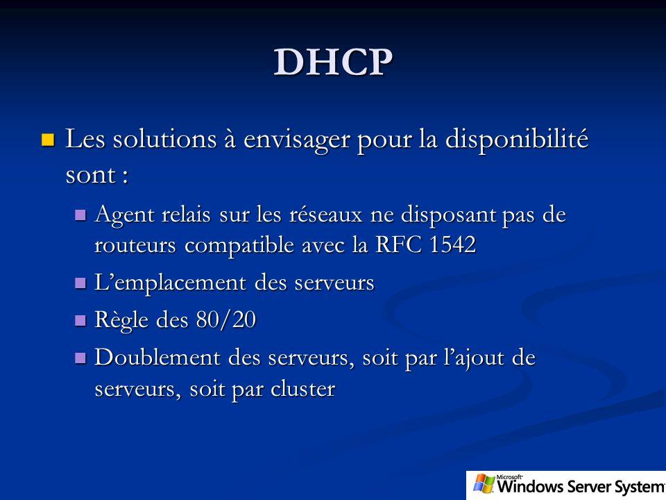 DHCP Les solutions à envisager pour la disponibilité sont : Les solutions à envisager pour la disponibilité sont : Agent relais sur les réseaux ne dis