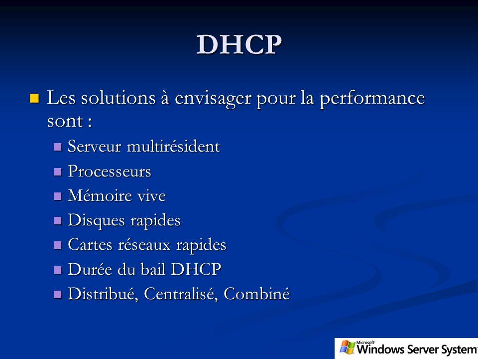 DHCP Les solutions à envisager pour la performance sont : Les solutions à envisager pour la performance sont : Serveur multirésident Serveur multirési