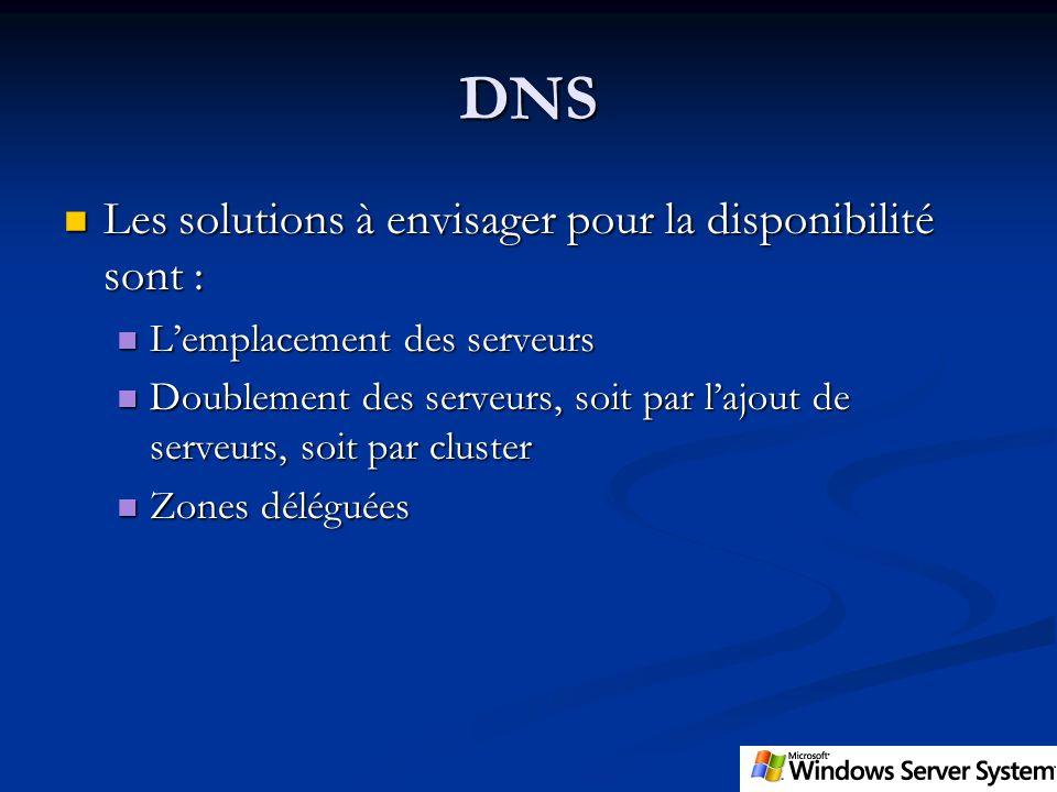 DNS Les solutions à envisager pour la disponibilité sont : Les solutions à envisager pour la disponibilité sont : Lemplacement des serveurs Lemplaceme