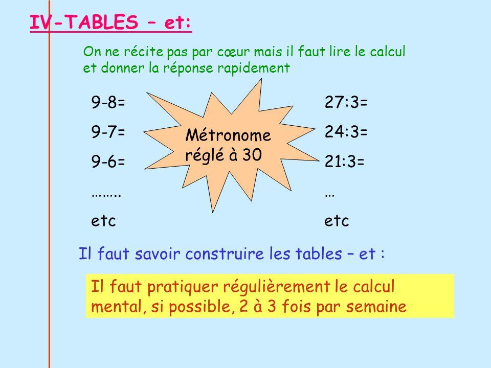 IV-TABLES – et: On ne récite pas par cœur mais il faut lire le calcul et donner la réponse rapidement 9-8= 9-7= 9-6= …….. etc 27:3= 24:3= 21:3= … etc