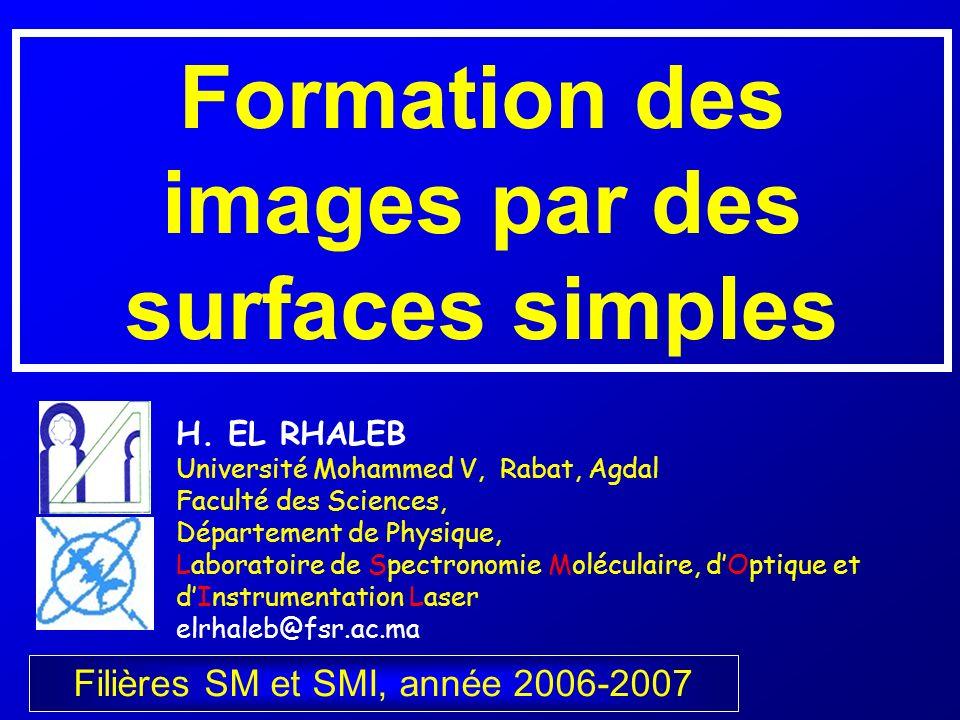 Formation des images par des surfaces simples Filières SM et SMI, année 2006-2007 H. EL RHALEB Université Mohammed V, Rabat, Agdal Faculté des Science