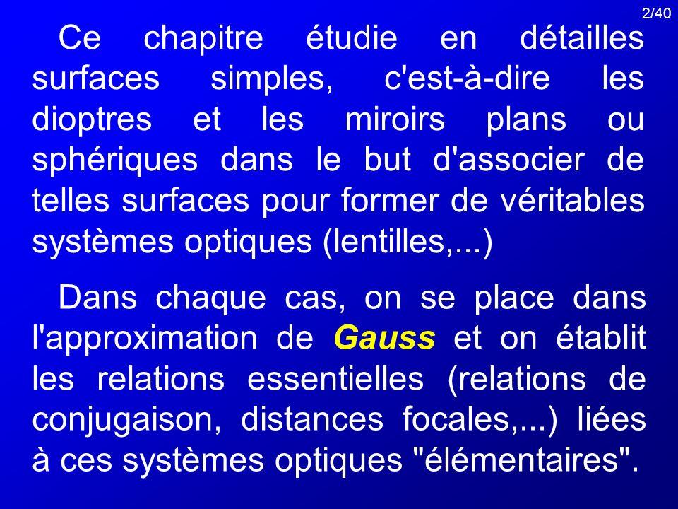 2/40 Ce chapitre étudie en détailles surfaces simples, c'est-à-dire les dioptres et les miroirs plans ou sphériques dans le but d'associer de telles s