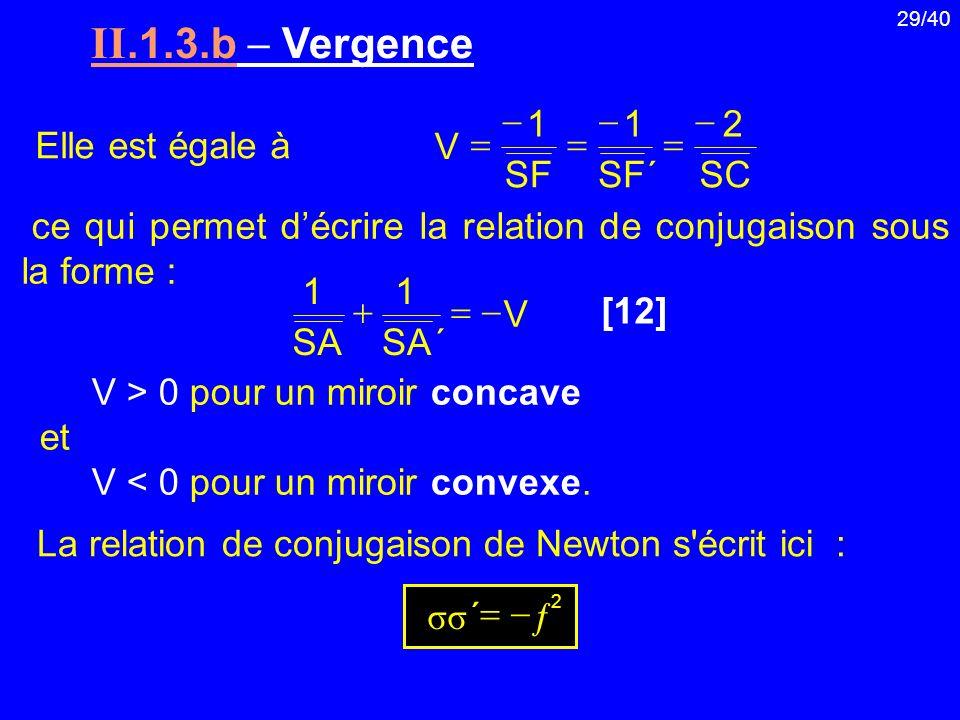 29/40 II.1.3.b Vergence ce qui permet décrire la relation de conjugaison sous la forme : V > 0 pour un miroir concave et V < 0 pour un miroir convexe.