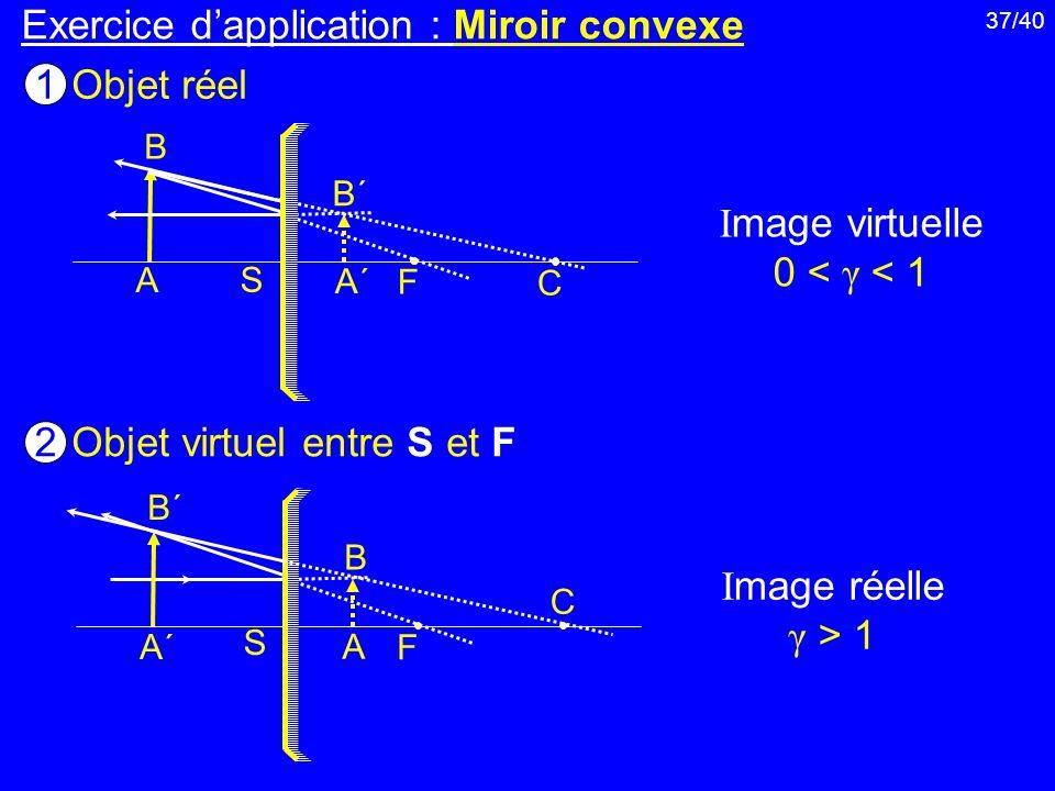 37/40 Exercice dapplication : Miroir convexe Objet réel 1 Objet virtuel entre S et F 2 I mage virtuelle 0 < γ < 1 I mage réelle γ > 1 A B B´B´ A´A´ S