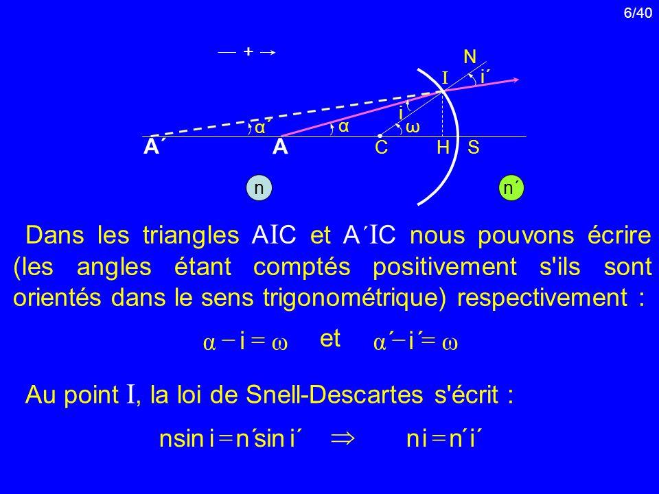 6/40 Dans les triangles A I C et A ´ I C nous pouvons écrire (les angles étant comptés positivement s'ils sont orientés dans le sens trigonométrique)