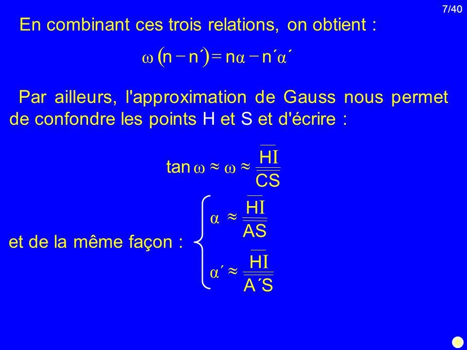 7/40 En combinant ces trois relations, on obtient : Par ailleurs, l'approximation de Gauss nous permet de confondre les points H et S et d'écrire : et