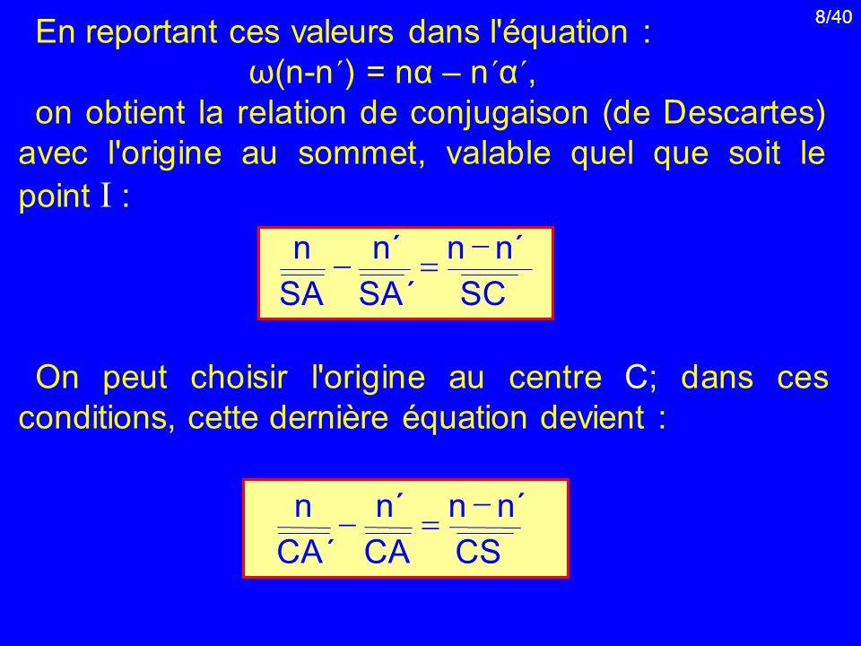 8/40 En reportant ces valeurs dans l'équation : ω(n-n ´ ) = nα – n ´ α ´, on obtient la relation de conjugaison (de Descartes) avec l'origine au somme