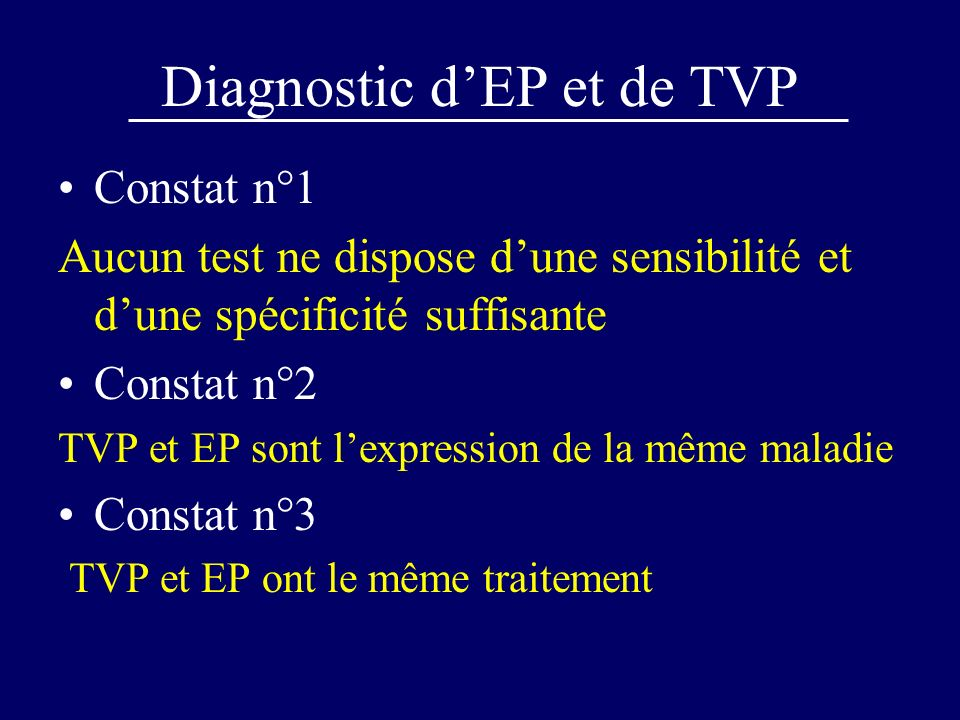 Algorithme incluant la probabilité clinique Proba Clinique + D-di Vidas < 500 = EP - Echo V + = EP + Scinti V/P EP - Clin faible = EP - Négative Hte Prob Inter EP + Clin inter ou Hte = Angio