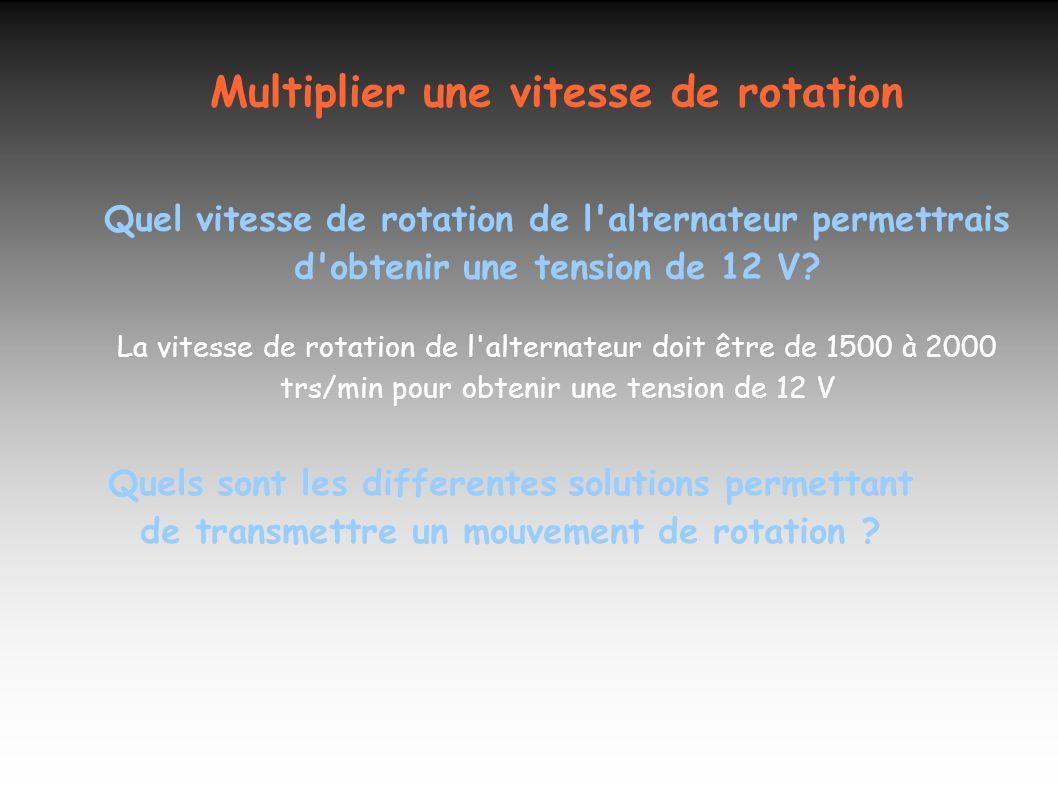 Multiplier une vitesse de rotation Quel vitesse de rotation de l'alternateur permettrais d'obtenir une tension de 12 V? La vitesse de rotation de l'al
