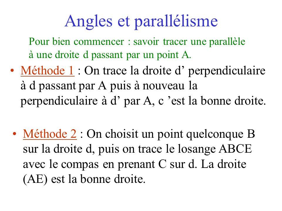 Angles et parallélisme Méthode 1 : On trace la droite d perpendiculaire à d passant par A puis à nouveau la perpendiculaire à d par A, c est la bonne
