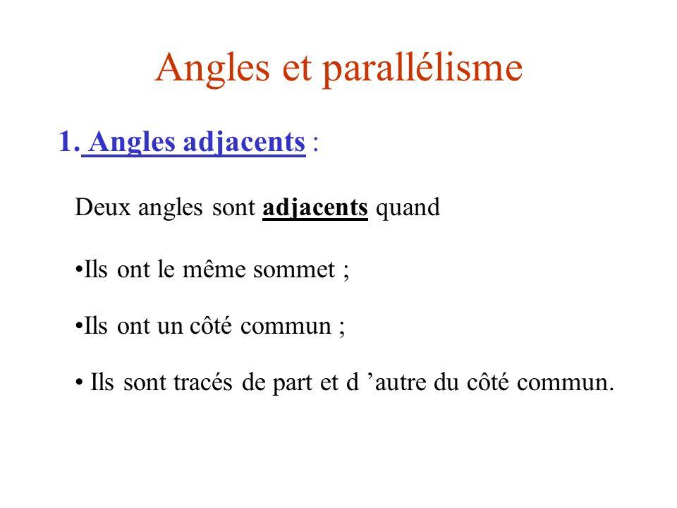 Angles et parallélisme 1. Angles adjacents : Deux angles sont adjacents quand Ils ont le même sommet ; Ils ont un côté commun ; Ils sont tracés de par