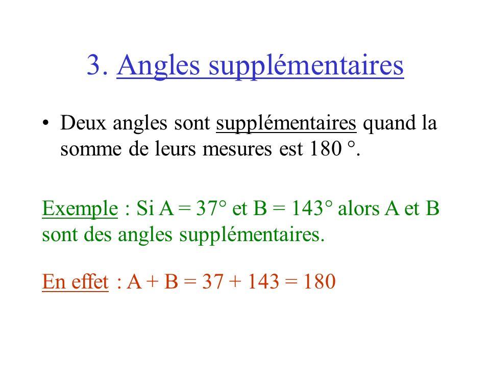 3. Angles supplémentaires Deux angles sont supplémentaires quand la somme de leurs mesures est 180 °. Exemple : Si A = 37° et B = 143° alors A et B so
