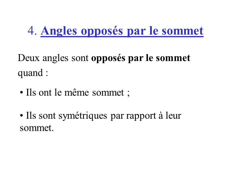 4. Angles opposés par le sommet Deux angles sont opposés par le sommet quand : Ils ont le même sommet ; Ils sont symétriques par rapport à leur sommet