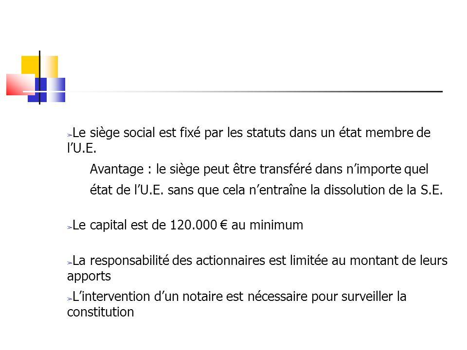 Le siège social est fixé par les statuts dans un état membre de lU.E. Avantage : le siège peut être transféré dans nimporte quel état de lU.E. sans qu
