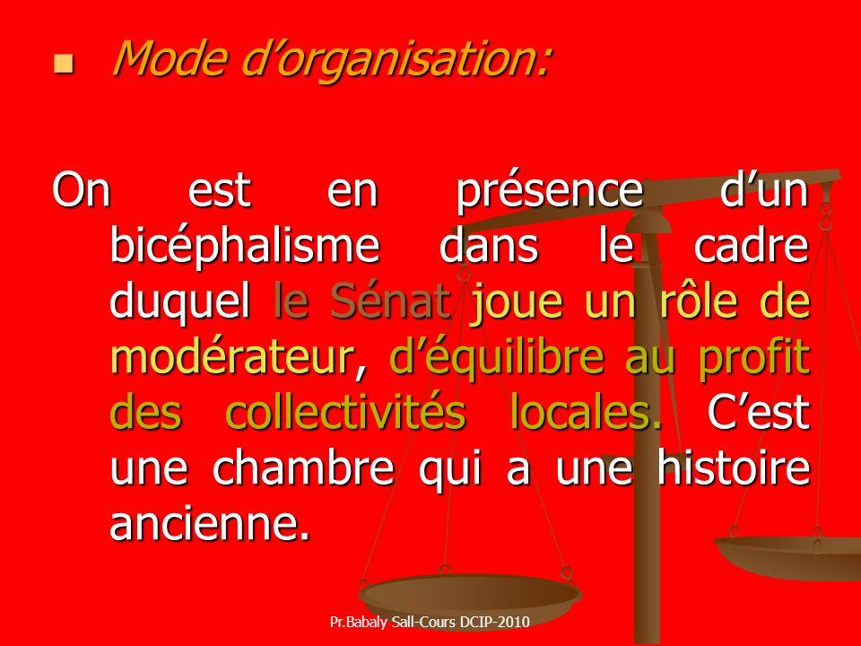Mode dorganisation: Mode dorganisation: On est en présence dun bicéphalisme dans le cadre duquel le Sénat joue un rôle de modérateur, déquilibre au pr