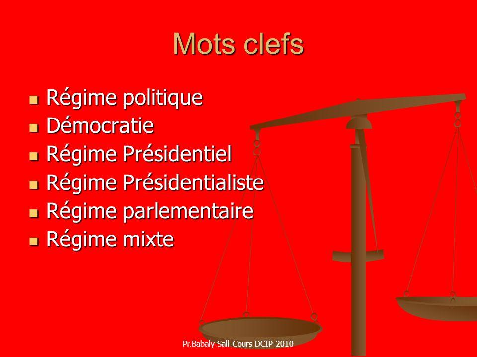 Mots clefs Régime politique Régime politique Démocratie Démocratie Régime Présidentiel Régime Présidentiel Régime Présidentialiste Régime Présidential