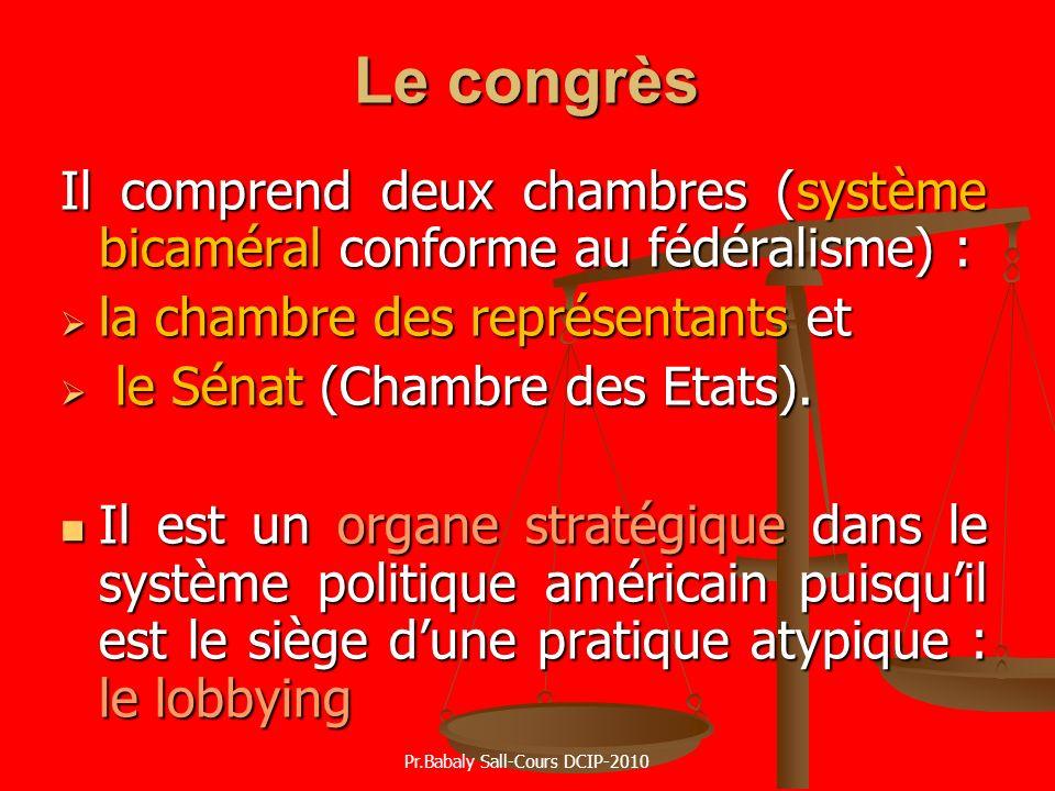 Le congrès Il comprend deux chambres (système bicaméral conforme au fédéralisme) : la chambre des représentants et la chambre des représentants et le