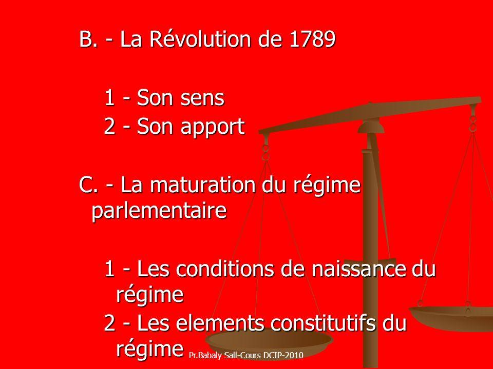 B. - La Révolution de 1789 1 - Son sens 2 - Son apport C. - La maturation du régime parlementaire 1 - Les conditions de naissance du régime 2 - Les el
