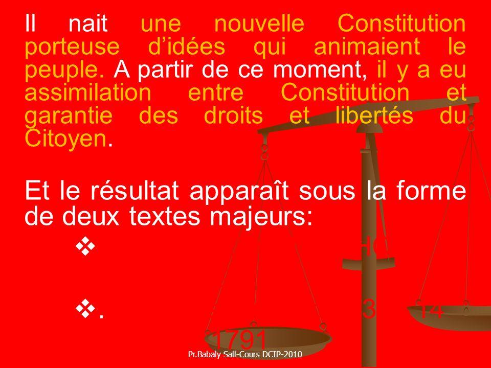 Il nait une nouvelle Constitution porteuse didées qui animaient le peuple. A partir de ce moment, il y a eu assimilation entre Constitution et garanti