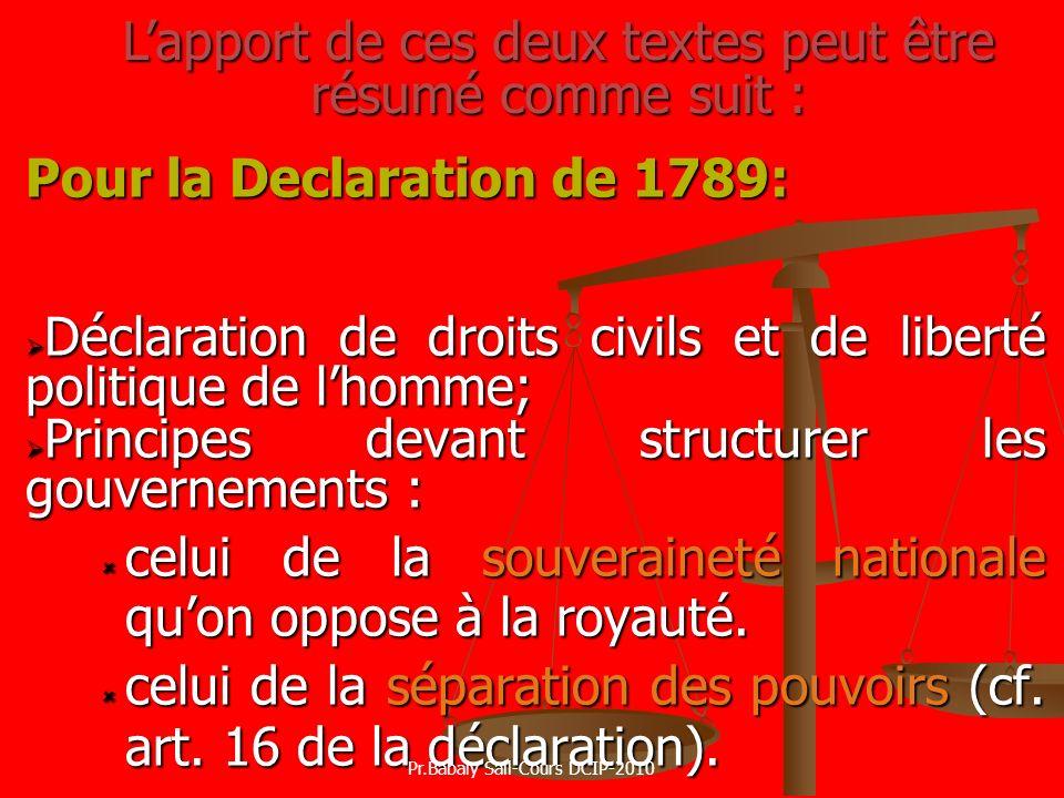 Pour la Declaration de 1789: Déclaration de droits civils et de liberté politique de lhomme; Déclaration de droits civils et de liberté politique de l