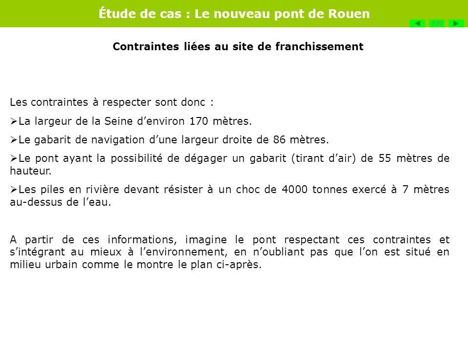 Étude de cas : Le nouveau pont de Rouen Les contraintes à respecter sont donc : La largeur de la Seine denviron 170 mètres. Le gabarit de navigation d