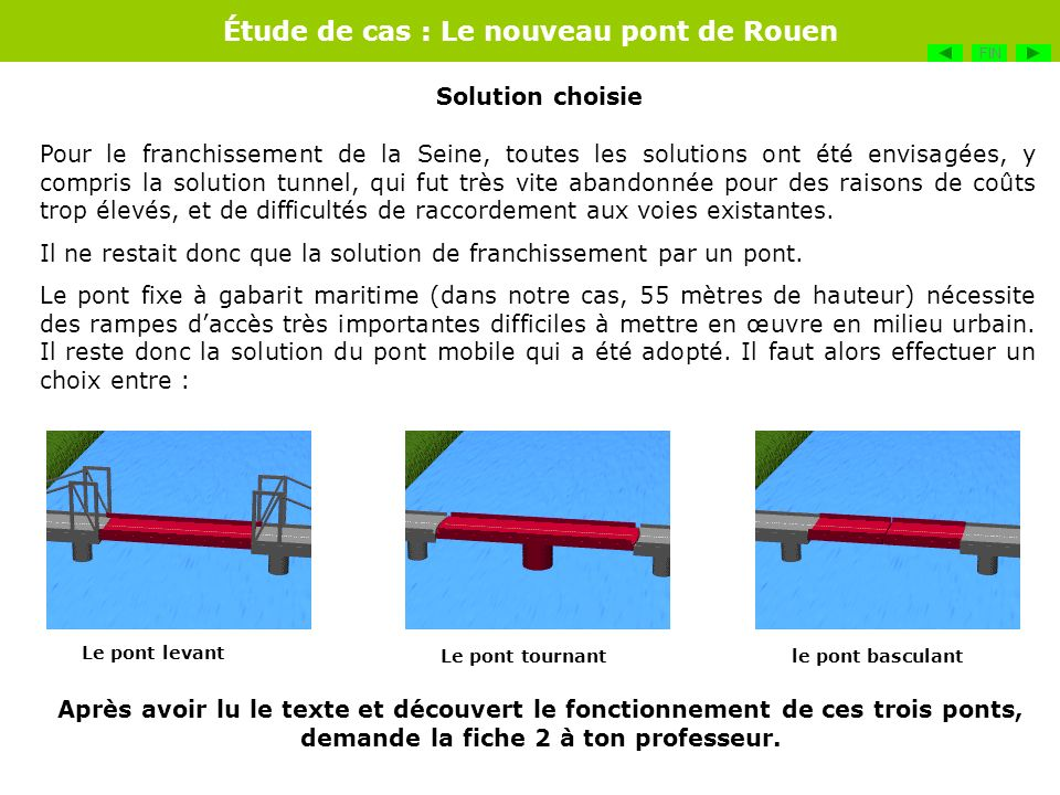 Étude de cas : Le nouveau pont de Rouen Étant donnée la portée relativement importante, ainsi que les aménagements divers des quais en espaces de loisirs, la solution du pont levant est retenue.